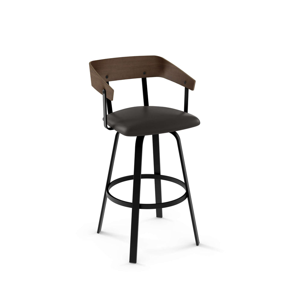 Carson Swivel Bar Stool with Upholstered Seat and Wood Veneer Backrest
