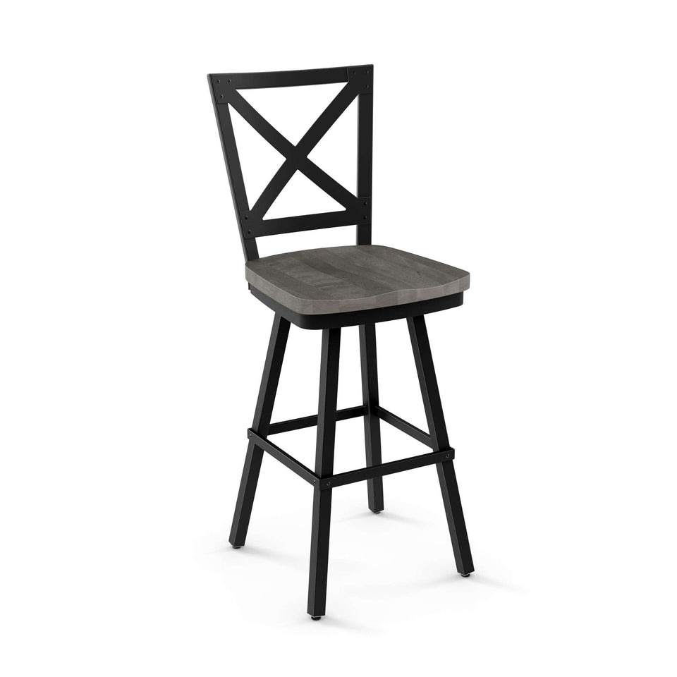 Amisco Kent Swivel Bar Stool with Distressed Solid Wood Seat