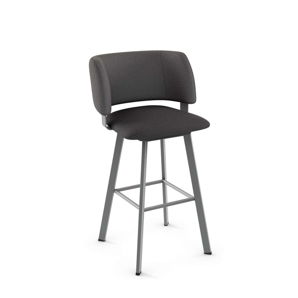 Easton Swivel Spectator Stool with Upholstered Seat and Backrest