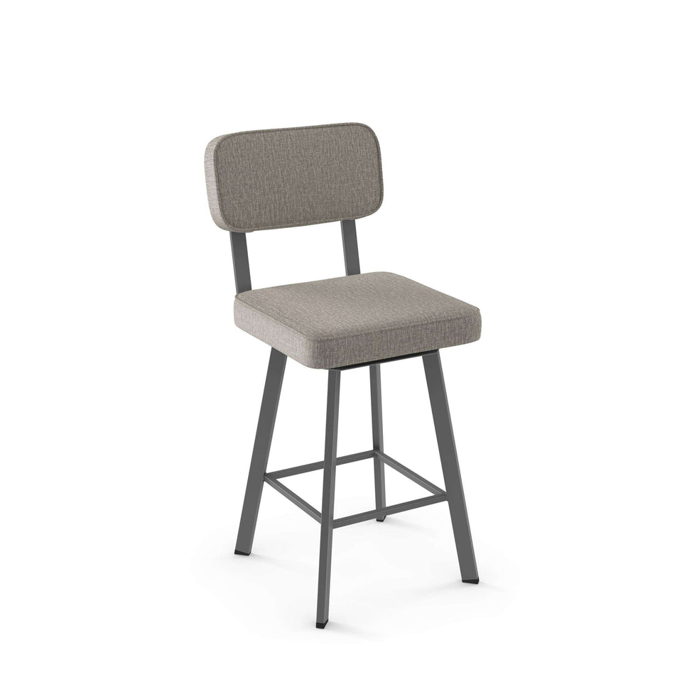 Brixton Swivel Counter Stool with Upholstered Seat and Backrest by Amisco