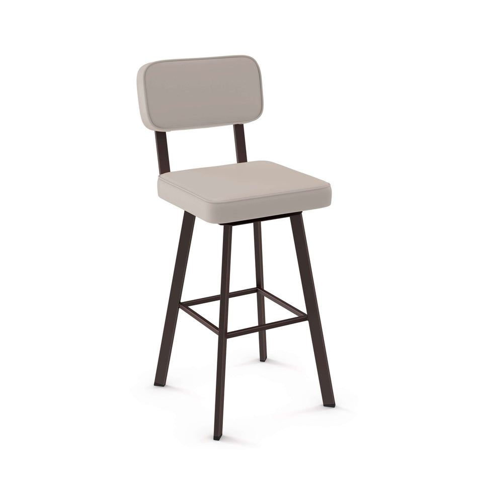 Brixton Swivel Spectator Stool with Upholstered Seat and Backrest by Amisco