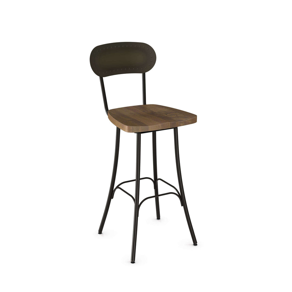 Bean Swivel Counter Stool With Solid Wood Seat And Metal