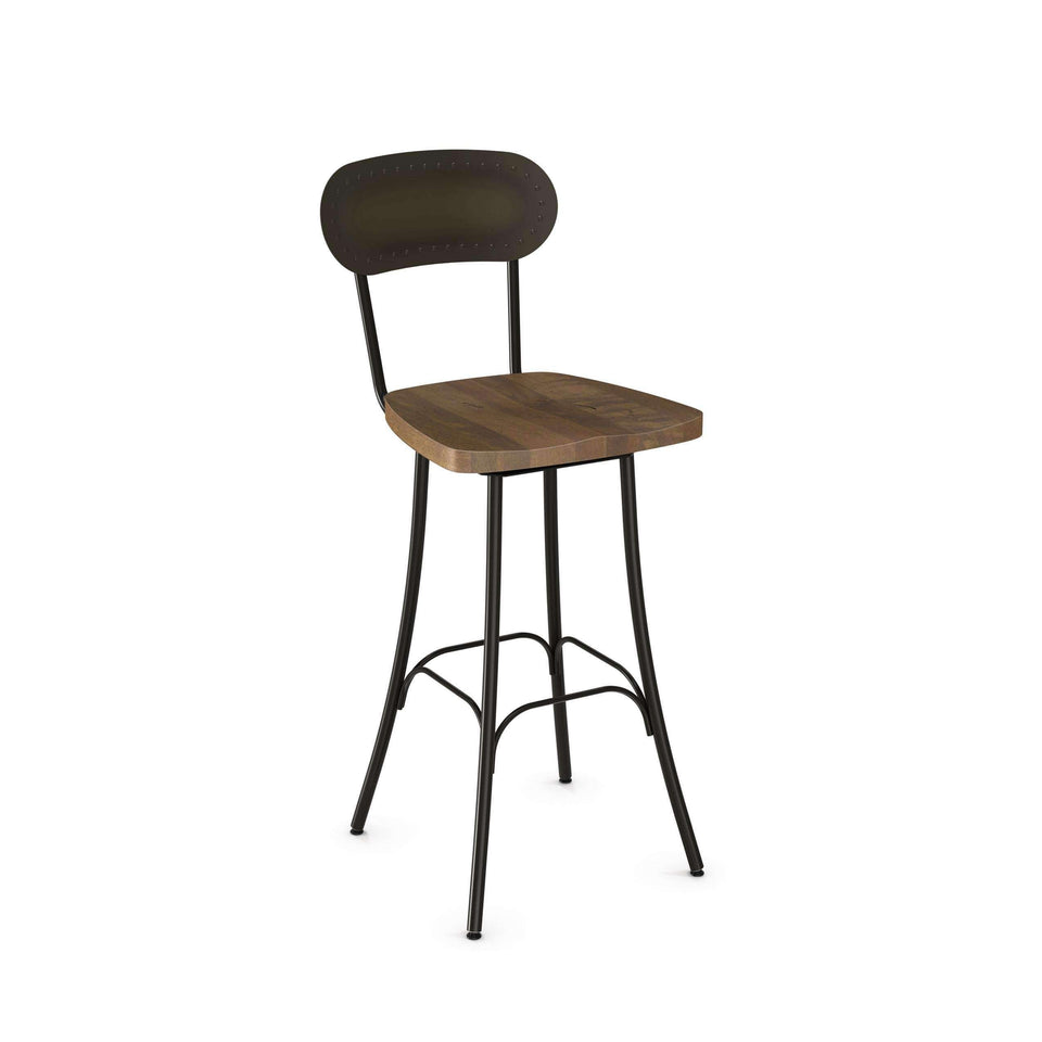 Bean Swivel Bar Stool with Distressed Solid Wood Seat and Metal Backrest by Amisco