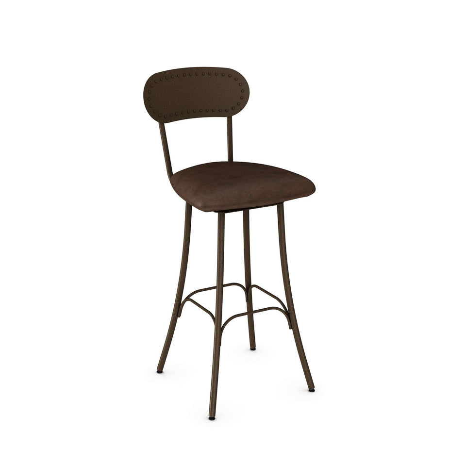 Bean Swivel Bar Stool with Upholstered Seat and Metal Backrest by Amisco