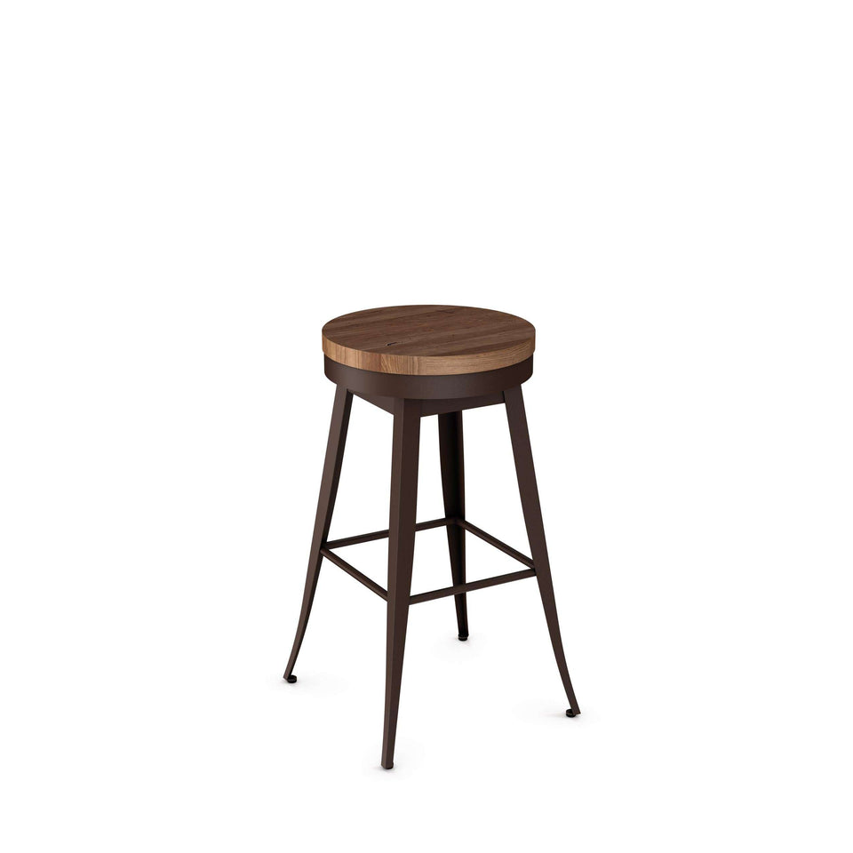 Grace Swivel Spectator Stool with Distressed solid Wood Seat