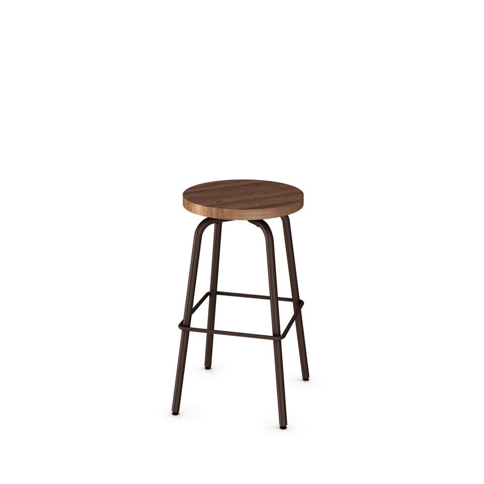 Button Swivel Bar Stool with Distressed Solid Wood Seat
