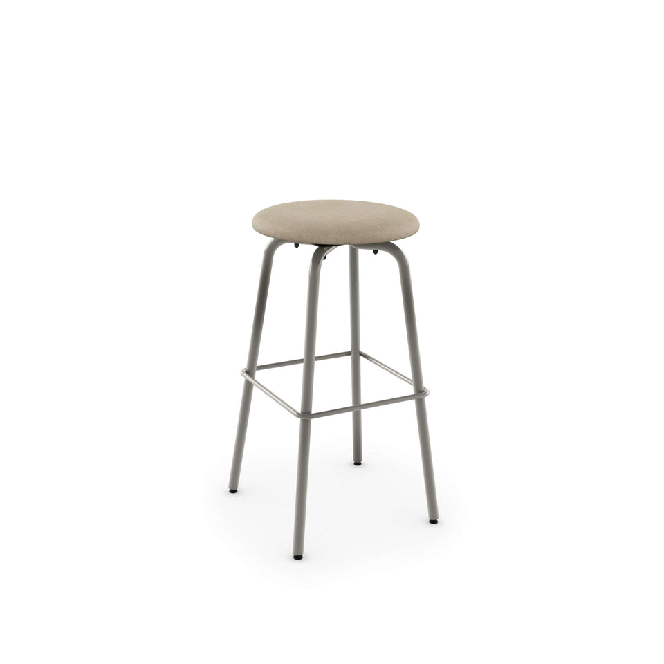 Button Swivel Spectator Stool with Upholstered Seat