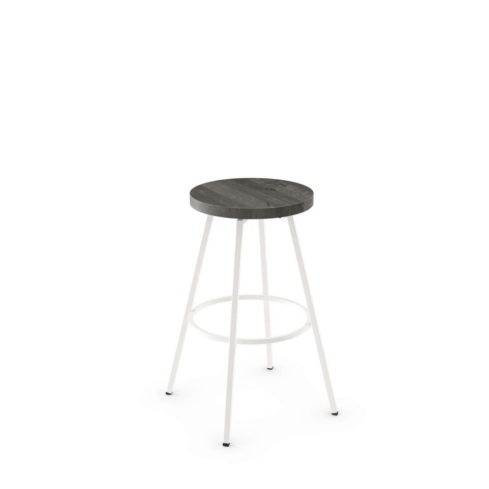 Hans Swivel Bar Stool with Distressed Solid Wood Seat