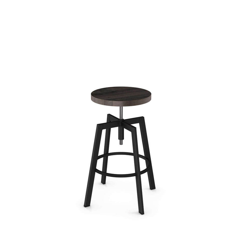 Amisco Architect Adjustable Stool with Distressed Solid Wood Seat