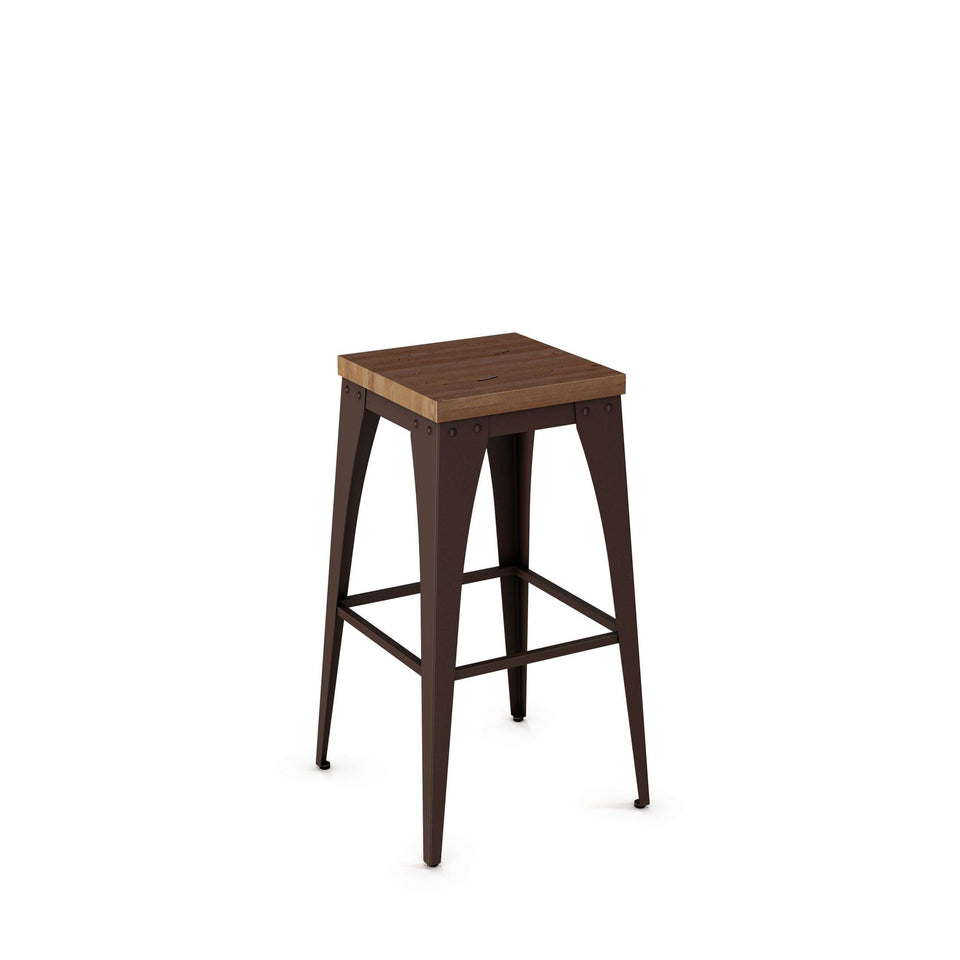 Upright Non Swivel Bar Stool with Distressed Solid Wood Seat