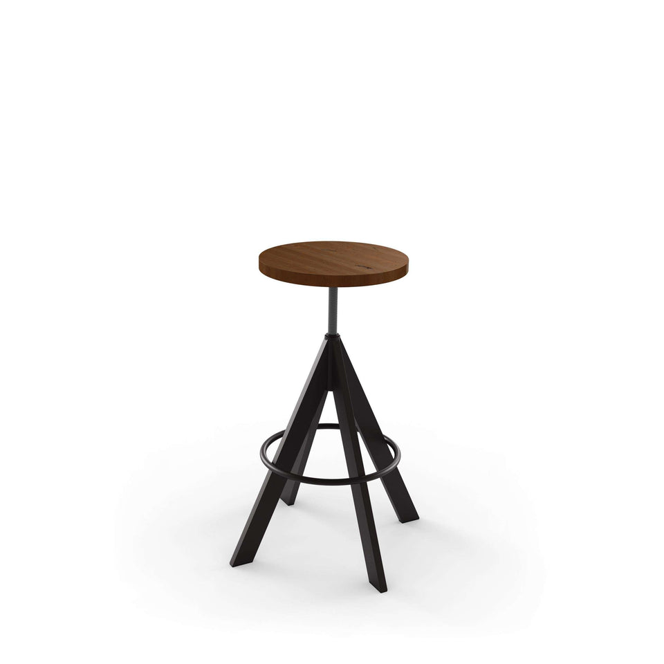 Uplift Screw Stool with Distress Solid Wood Seat