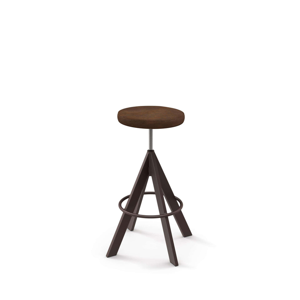 Uplift Screw Stool with Upholstered Seat