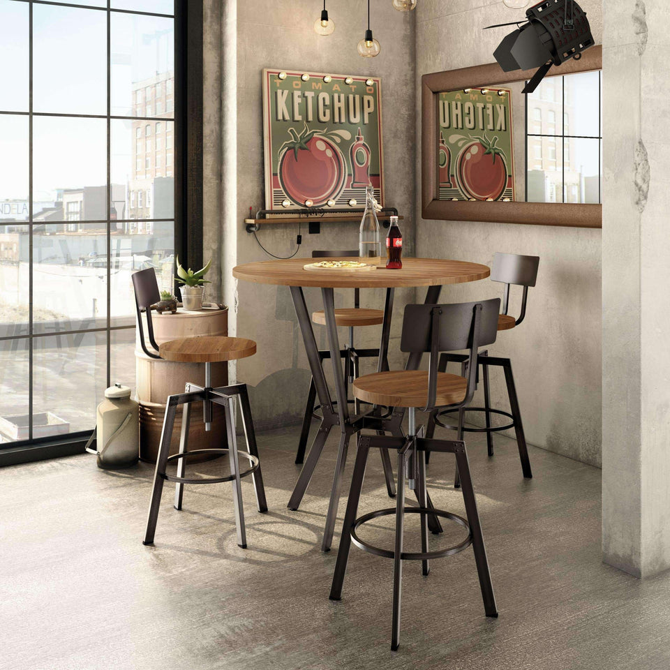 Amisco Architect Adjustable Stool w Distressed Solid Wood Seat and Metal Backrest