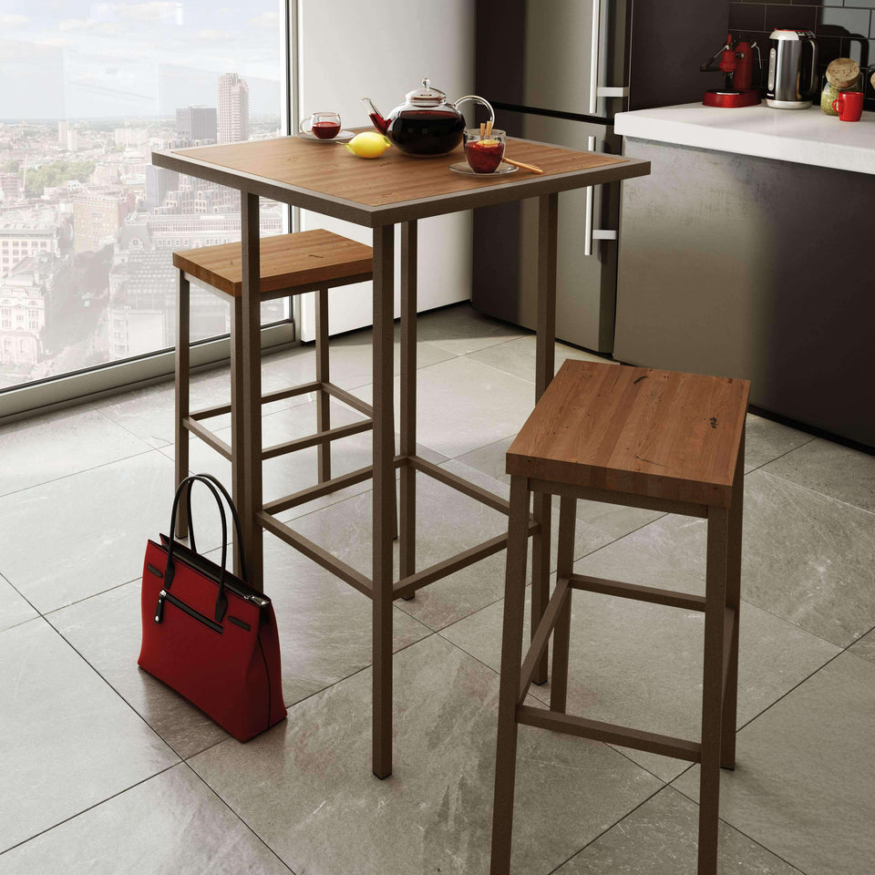 Amisco Bradley Non Swivel Bar Stool with Distressed Solid Wood Seat