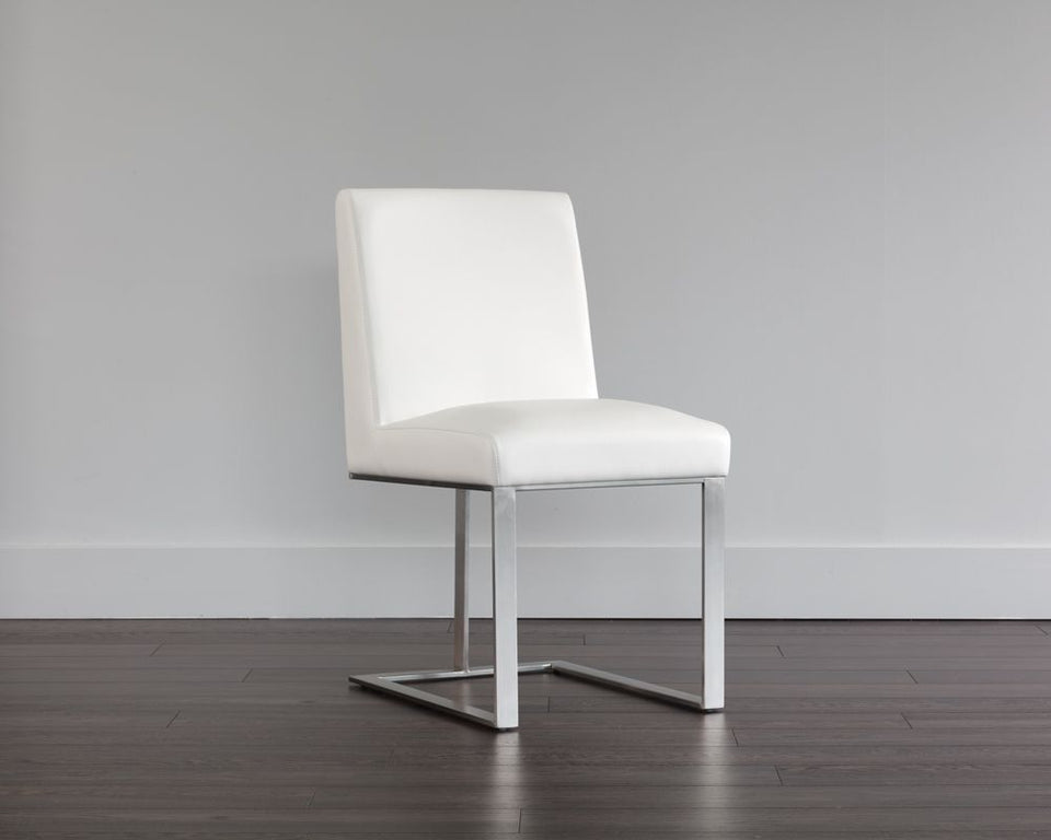 Sunpan Dean Dining Chair - Stainless Steel - Cantina White