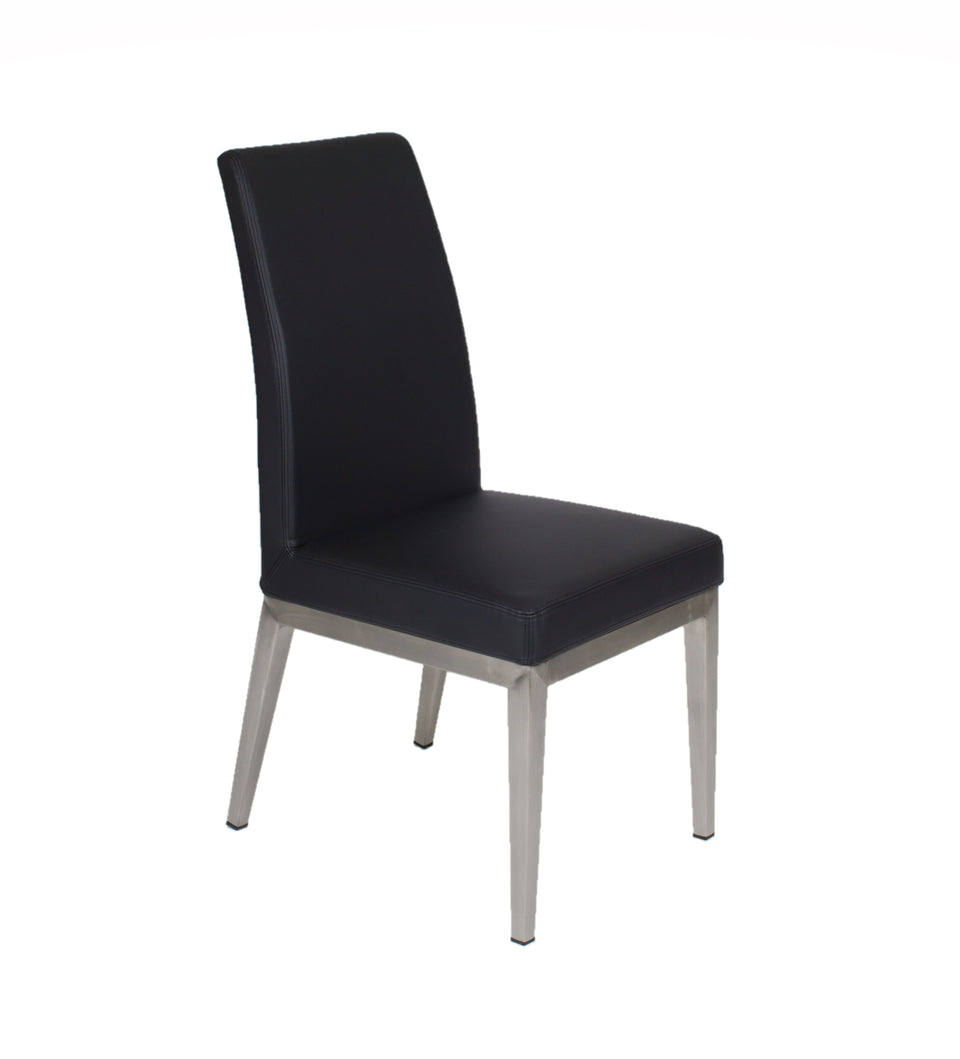 Furnishings Mate Erika Chair | Black Cover - Brushed Stainless Steel Base