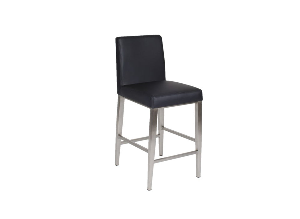 Furnishings Mate Erika Counter Stool - Black Cover and Stainless Steel
