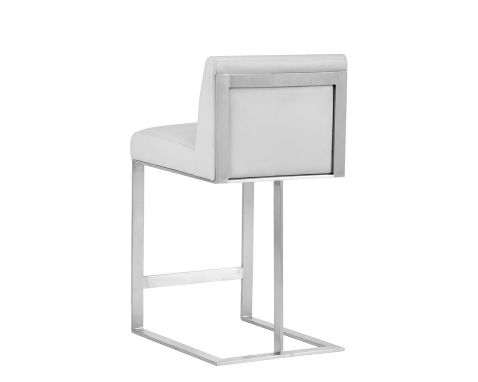Sunpan Dean Counter Stool - Stainless Steel - Cantina White