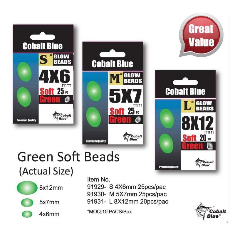 Cobalt Blue Green Soft Beads-Addict Tackle