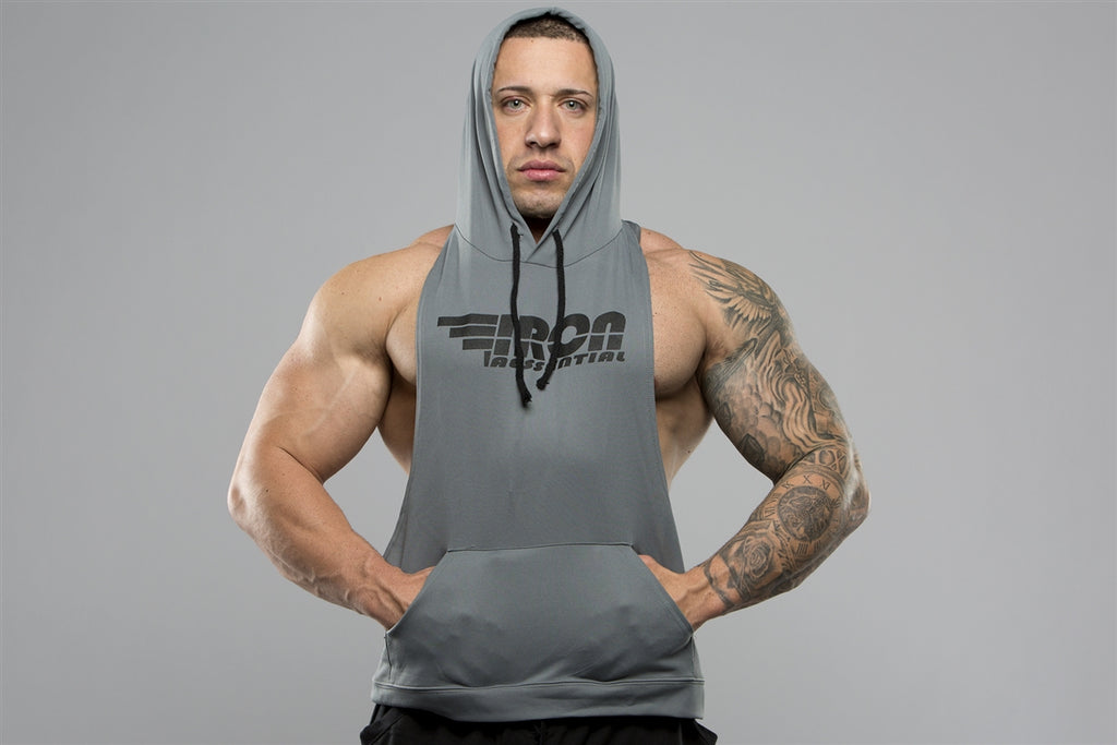Men's Racer back Hoodie - Iron Essential