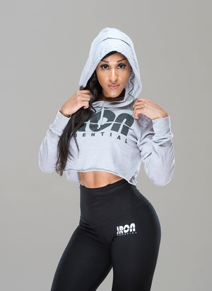 Crop Top Hoodie - Iron Essential