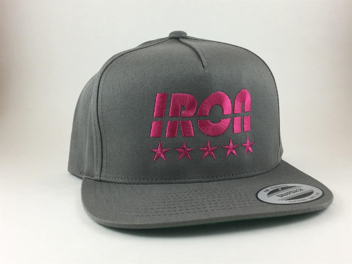 Gray with Pink Logo Snapback - Iron Essential