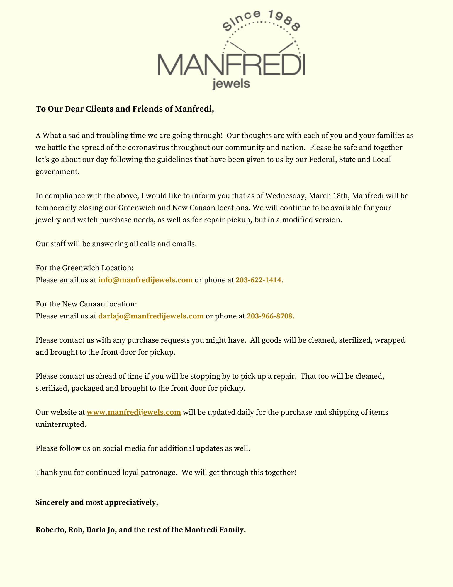 Important Message From Manfredi Jewels