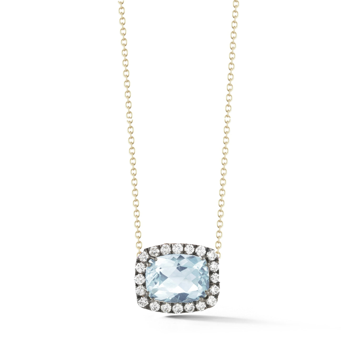 A & Furst Jewelry - Black gold pendant blue topaz & diamond | Manfredi Jewels