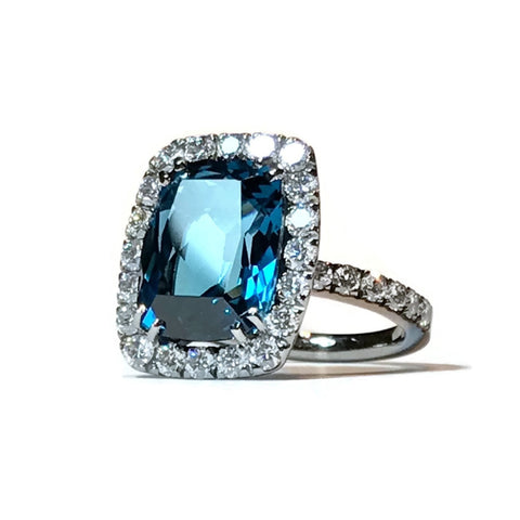 A & Furst Jewelry - DYNAMITE blackened gold with blue topaz diamond and sapphires A1301NU14 | Manfredi Jewels