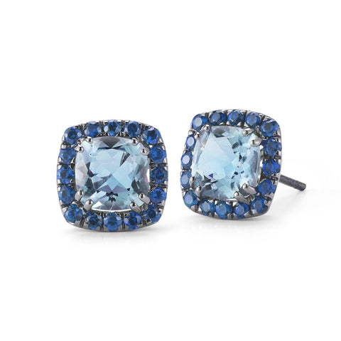 A & Furst Jewelry - Dynamite blue topaz and sapphires earrings O1321NU4 | Manfredi Jewels