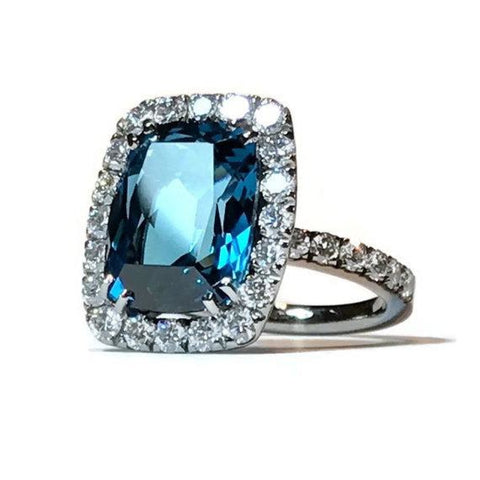 A & Furst Jewelry - Dynamite - Cocktail Ring with London Blue Topaz and Diamonds | Manfredi Jewels