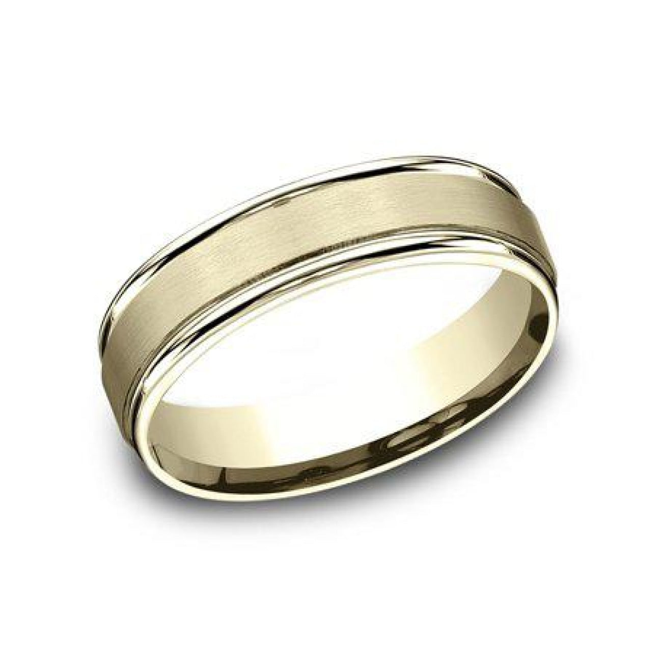 Benchmark Engagement - 6mm Satin Comfort Fit Wedding Band With Polished Edge | Manfredi Jewels