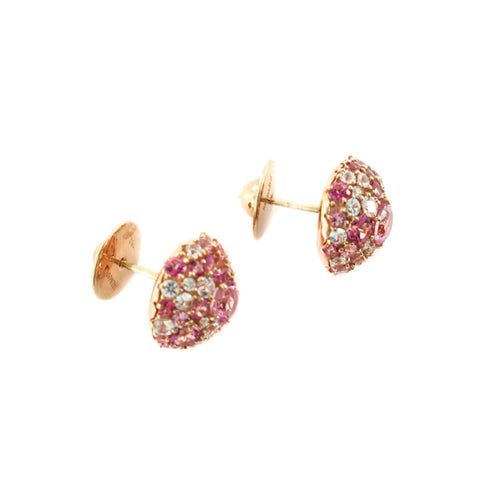 Brumani Jewelry - 18K Rose Gold Pink Topaz Sapphire and Diamond Stud Earrings | Manfredi Jewels