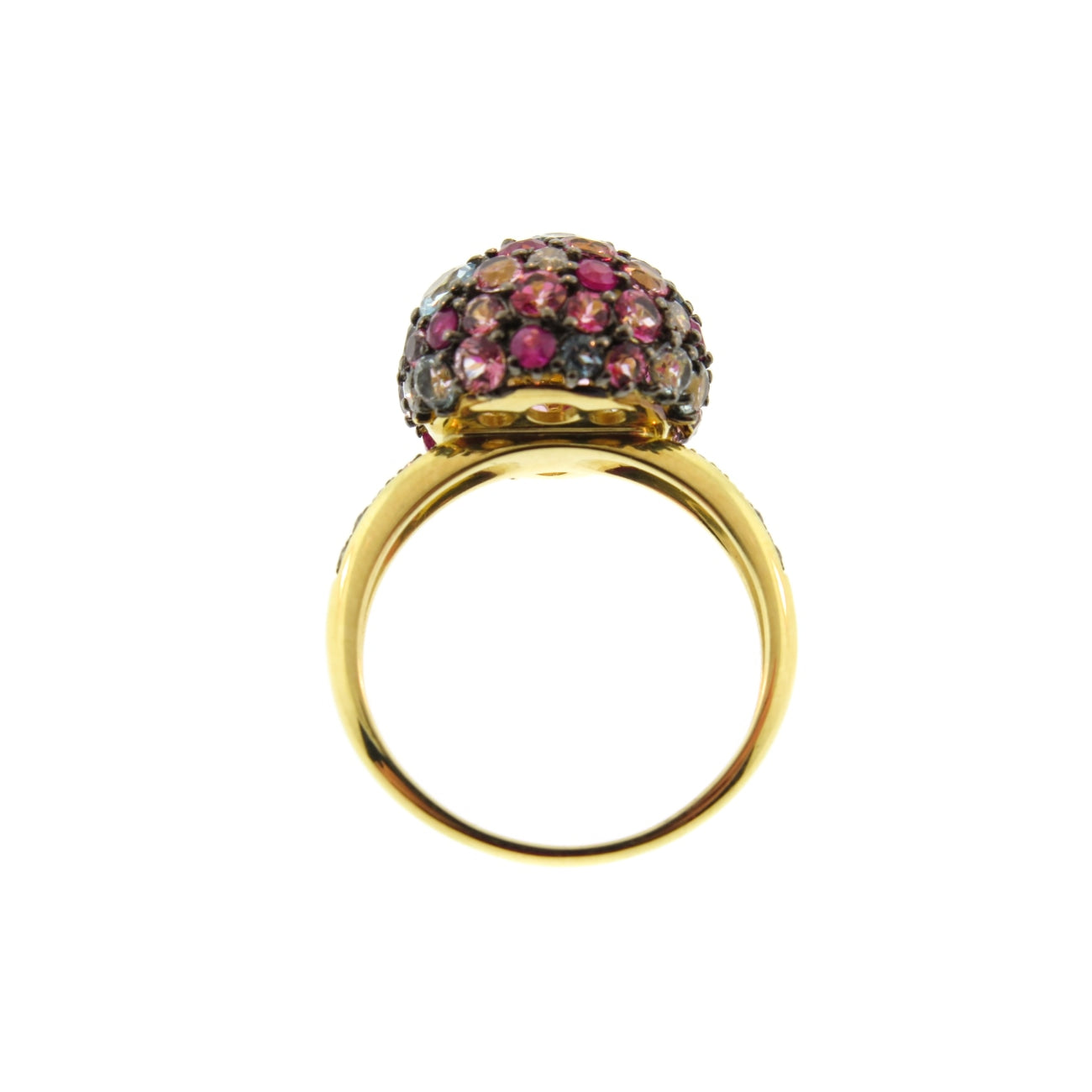 Brumani Jewelry - 18K Ruby Topaz and Sapphires Pave Ball Ring | Manfredi Jewels