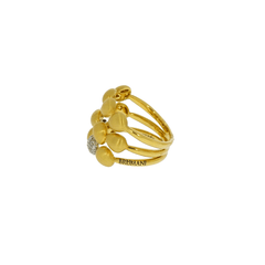 Brumani Jewelry - 3 Rows of satin finish gold with 2 pave diamond ring | Manfredi Jewels