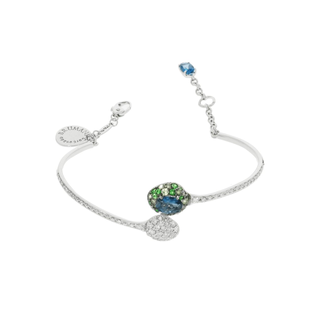 Brumani Jewelry - Blue and Green Tourmaline with Pave Bracelet | Manfredi Jewels