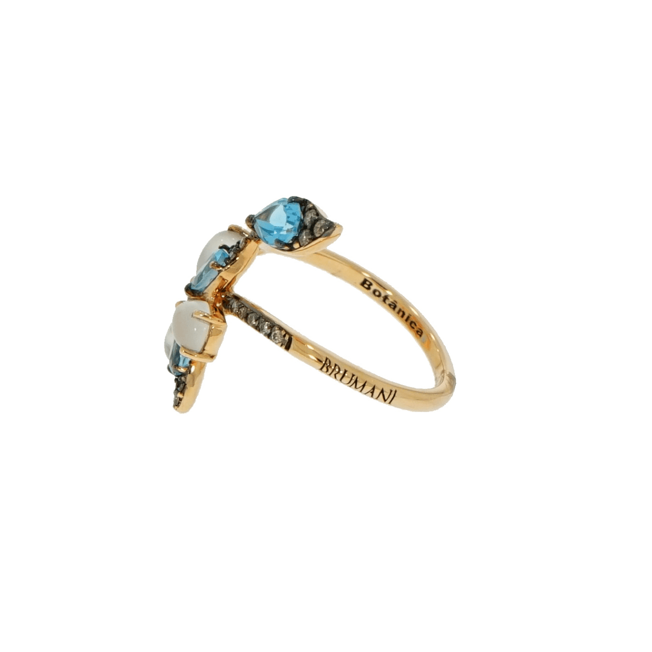 Brumani Jewelry - Blue and White Flower and Leaf Ring | Manfredi Jewels