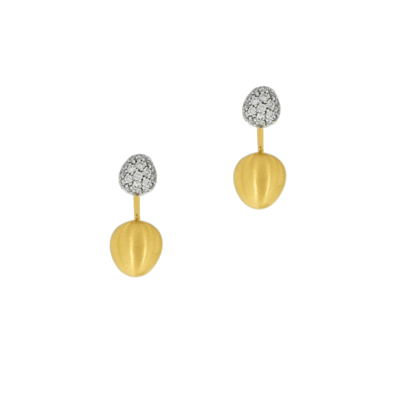 Brumani Jewelry - Pave Diamond Ball with Satin Finish Yellow Gold Dome Earrings | Manfredi Jewels