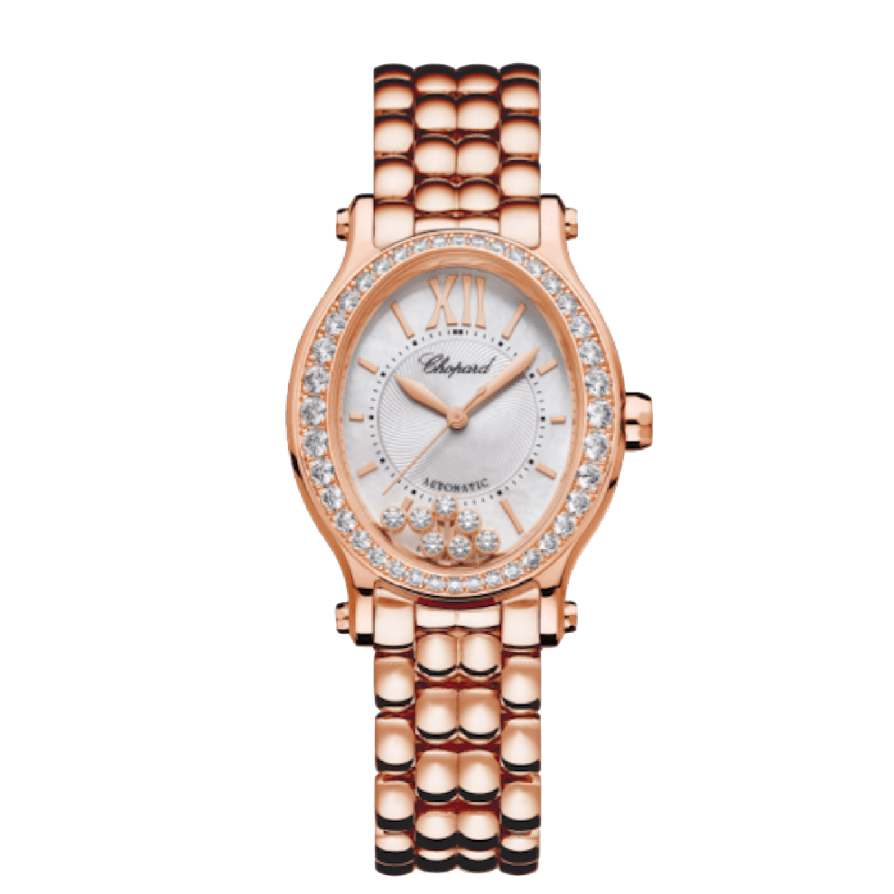 Chopard Watches - HAPPY SPORT OVAL 18K ROSE GOLD AND DIAMONDS | Manfredi Jewels