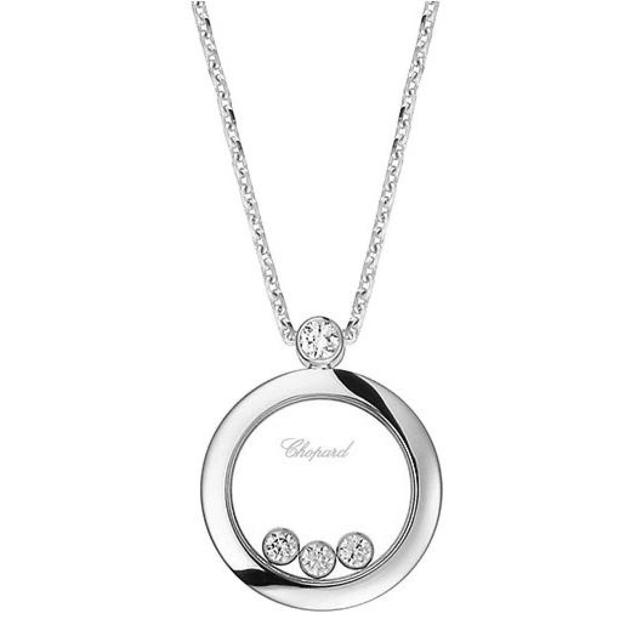 Chopard Jewelry - Chopard Round Pendant With Three Floating Diamonds | Manfredi Jewels