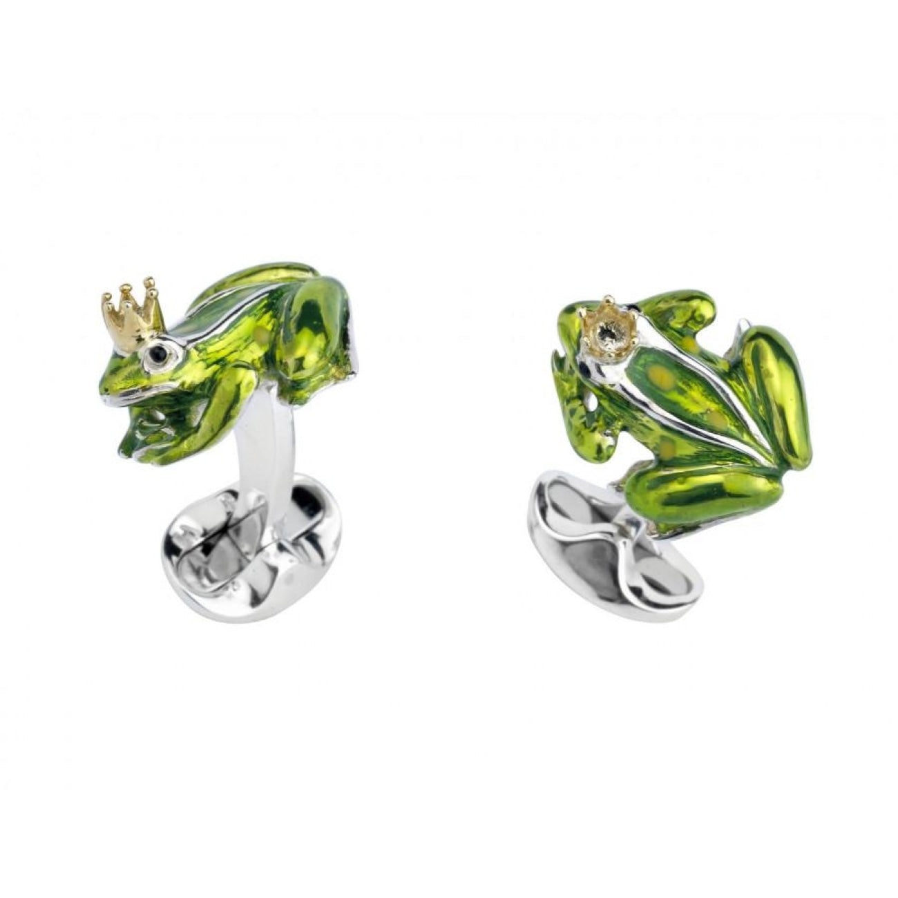 Deakin & Francis Accessories - Sterling Silver Frog with Crown Cufflinks | Manfredi Jewels