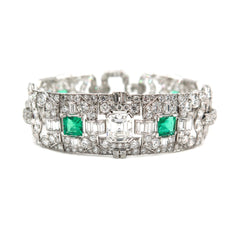 Estate Jewelry Estate Jewelry - 1920's Art Deco Emerald & Diamond Bracelet | Manfredi Jewels