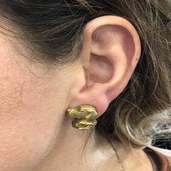 Estate Jewelry Estate Jewelry - 1989 Barry Kieselstein Cord Labrador Retriever Yellow Gold Earrings | Manfredi Jewels