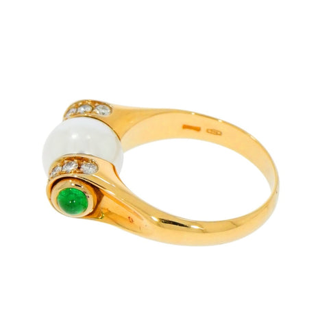 Estate Jewelry Estate Jewelry - Bvlgari Akoya Cultured Pearl Diamond Yellow Gold Ring | Manfredi Jewels