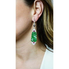 Estate Jewelry Estate Jewelry - Certified Natural Jade Ruby and Diamond Art Deco Platinum Drop Earrings | Manfredi Jewels