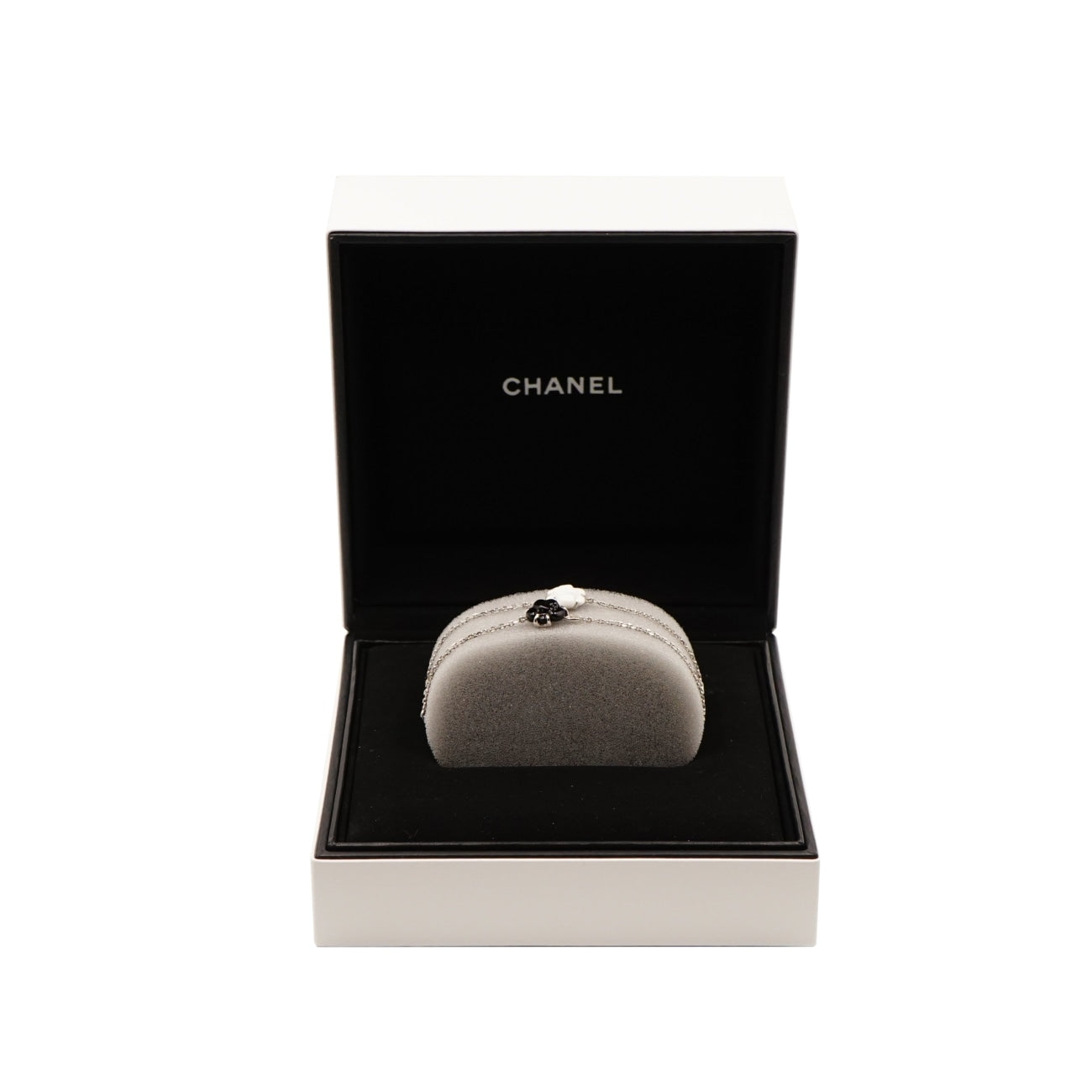 Estate Jewelry Estate Jewelry - Chanel Black Camelia White Gold Bracelet | Manfredi Jewels