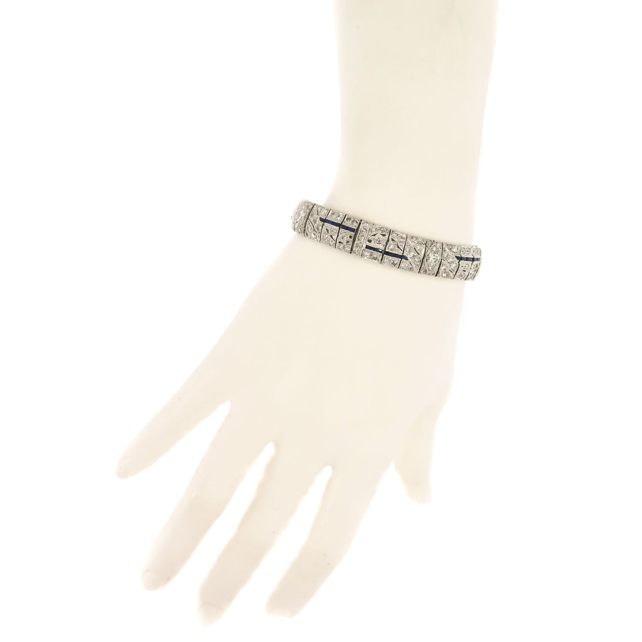 Estate Jewelry Estate Jewelry - Diamond and Sapphire Platinum Bracelet | Manfredi Jewels