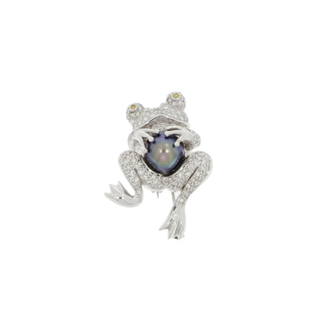 Estate Jewelry Estate Jewelry - Diamond Frog with a Tahitian Cultured Pearl White Gold Brooch | Manfredi Jewels