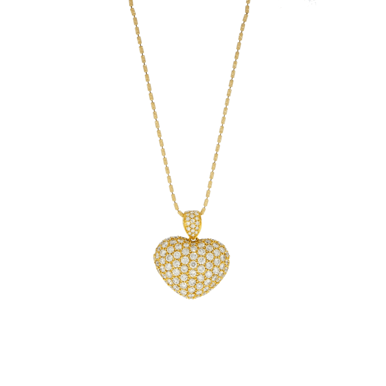Estate Jewelry Jewelry - Diamond Pave heart locket on textured bark link chain | Manfredi Jewels