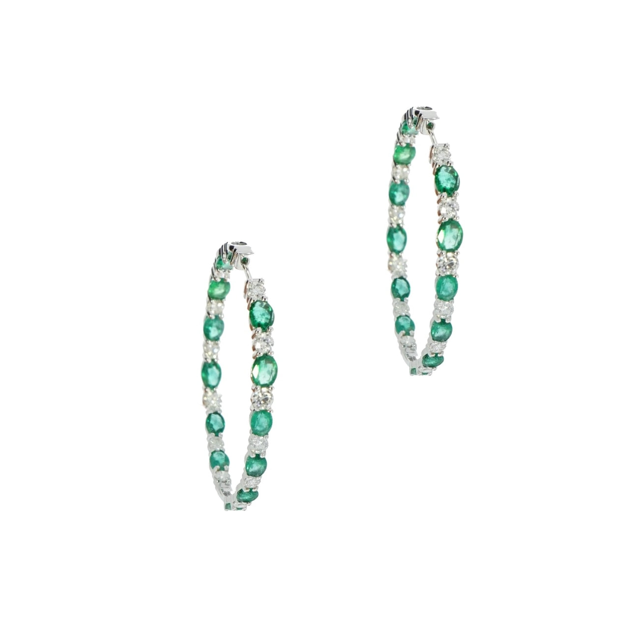 Estate Jewelry Estate Jewelry - Emerald and Diamond White Gold In/Out Hoop Earrings | Manfredi Jewels